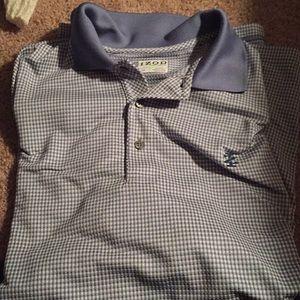 Izod Blue Checkered Golf Polo